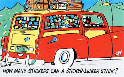 Family Car Drawing - How Many Stickers Can A Sticker-licker Stick by Eldon Frye