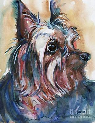 Yorkshire Terrier Art Painting - How Much Longer by Maria's Watercolor