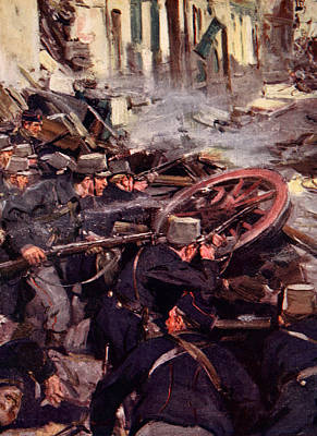 First World War Painting - How The Brave Belgians Held Up The German Advance by Cyrus Cuneo