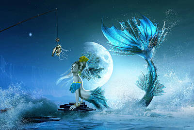 Mermaid Digital Art - How To Catch A Mermaid by Shanina Conway