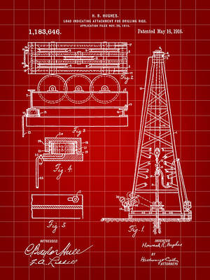 Howard Hughes Drilling Rig Patent 1914 - Red Print by Stephen Younts