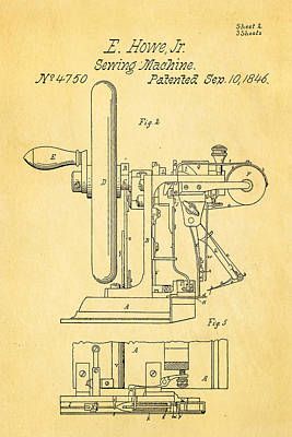 Howe Sewing Machine Patent Art 1846  Print by Ian Monk