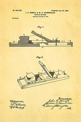 Howell And Chamberlain French-fry Potato Cutter Patent Art 1900 Print by Ian Monk