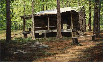 Log Cabin Painting - Howell Log Cabin - Hartshorn by Don  Langeneckert