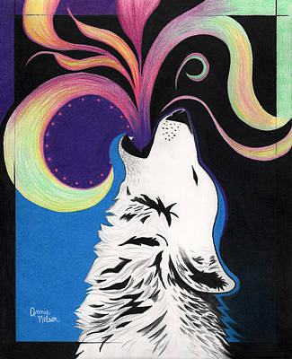 Nature Abstract Drawing - Howling Wolf by Annie Nelson