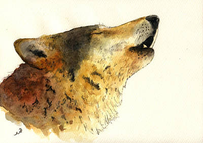 Wolf Watercolor Painting - Howling Wolf. by Juan  Bosco