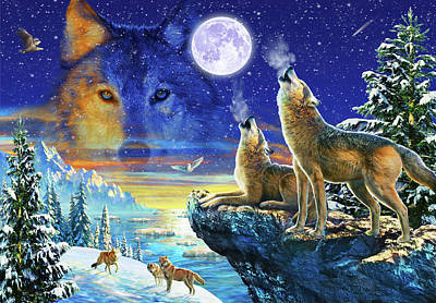 Wolf Drawing - Howling Wolves by Adrian Chesterman