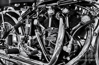 Hrd Vincent Motorcycle Engine Print by Tim Gainey