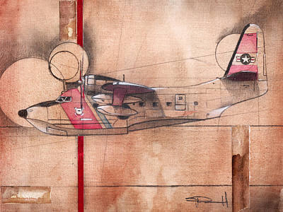 Albatross Painting - Hu 16 Albatross by Sean Parnell