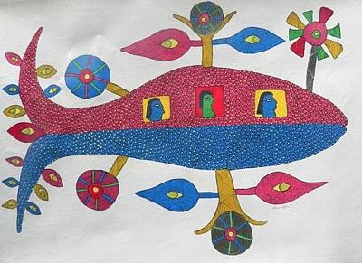 Gond Tribal Art Painting - Hu 34 by Hiraman Urveti