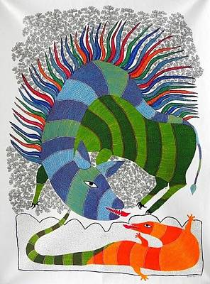 Gond Art Gallery Painting - Hu 46 by Heeraman Urveti