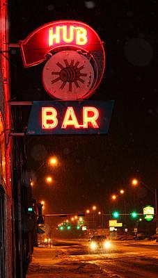 Hub Bar Snowy Night Print by Sylvia Thornton