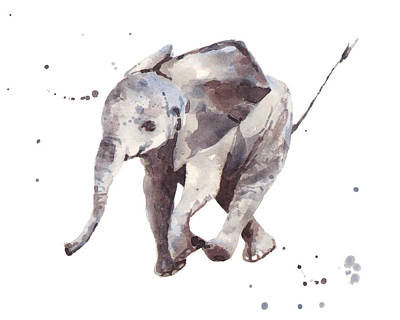 Hubert Hurry Elephant Print by Alison Fennell
