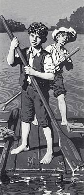 Huckleberry Finn And Tom Sawyer  Print by English School