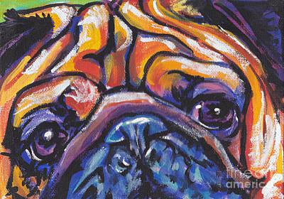 Pug Painting - Hug The Pug by Lea S