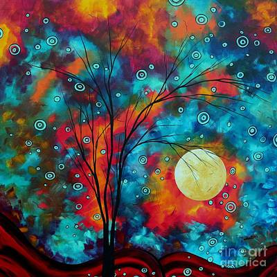 Huge Colorful Abstract Landscape Art Circles Tree Original Painting Delightful By Madart Print by Megan Duncanson