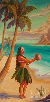 Hawaii Sea Turtle Painting - Hula Aloha by Janet McDonald