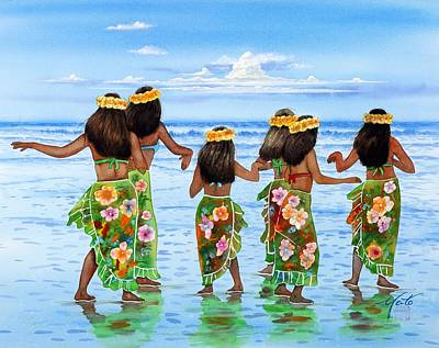 Watercolor Painting - Hula Dancers Hawaii by John YATO