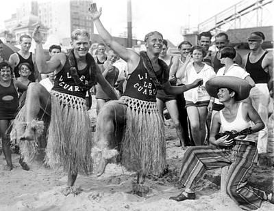 Hula Dancing Lifeguards In Long Beach Print by -