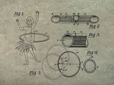 Hula Girl Art Digital Art - Hula Hoop Patent Art by Dan Sproul