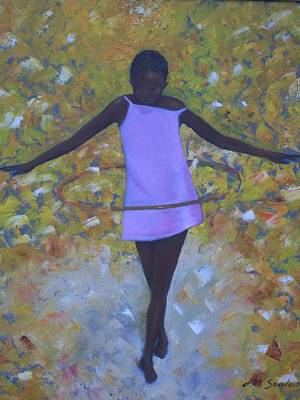 Girl With A Pink Dress Painting - Hula Hoops by Joe Sanders