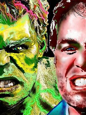 Incredible Hulk Painting - Hulk Vs Bruce Banner by Daniel Janda