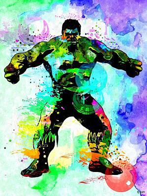 Hulk Watercolor Print by Daniel Janda