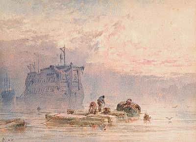 Hulks At Anchor Print by William Cook of Plymouth