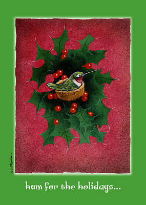 Hummingbird Painting - Hum For The Holidays... by Will Bullas