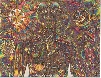 Pineapple Drawing - Human Beying by diNo