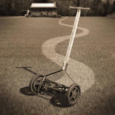 Human Power Lawn Mower Print by Mike McGlothlen