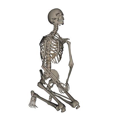 Human Skeleton Photograph - Human Skeleton Praying On His Knees by Elena Duvernay