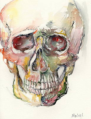 Robert Plant Framed Painting - Human Skull by Marina Sotiriou