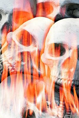 Bizarre Photograph - Human Skulls In Flames by Victor De Schwanberg