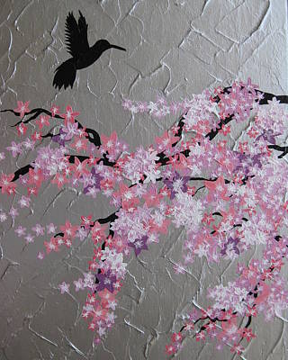Little Girls Mixed Media - Humming Bird With Cherry Blossom by Cathy Jacobs