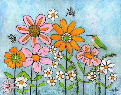 Bees Painting - Hummingbird And Bees by Blenda Studio