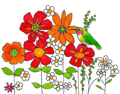 Spring Painting - Hummingbird And Flowers by Blenda Studio