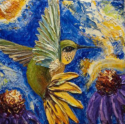 Hummingbird And Purple Cone Flowers Print by Paris Wyatt Llanso