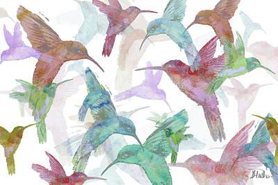 Hummingbird Painting - Hummingbird Dance On White by Patricia Pinto