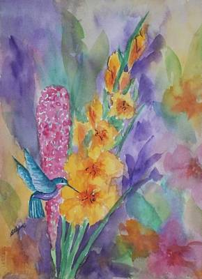 Gladiolas Painting - Hummingbird Heaven by Ellen Levinson