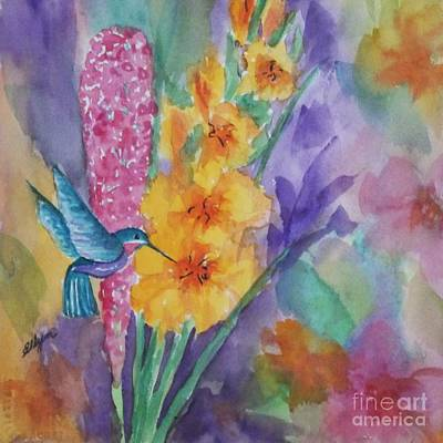Gladiolas Painting - Hummingbird Heaven - Square by Ellen Levinson