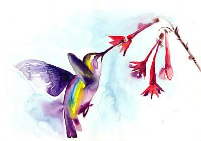 Het Painting - Hummingbird In Red Flowers Watercolor by Tiberiu Soos