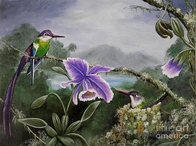 Passiflora Painting - Hummingbird Paradise by Amanda Hukill