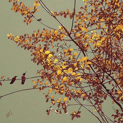 Hummingbirds On Yellow Tree Print by Ben and Raisa Gertsberg