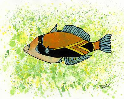 Triggerfish Painting - Humuhumunukunukuapuaa by Darice Machel McGuire