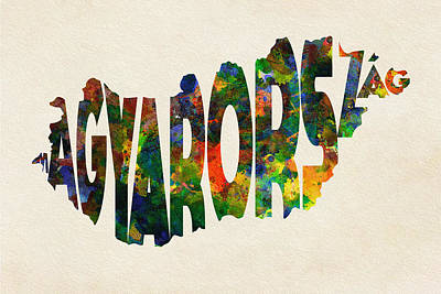 Hungary Typographic Watercolor Map Print by Ayse Deniz