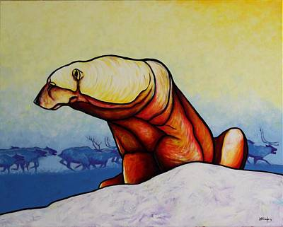 Winter-landscape Painting - Hunger Burns - Polar Bear by Joe  Triano