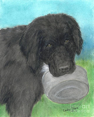 Newfie Painting - Hungry Newfoundland Dog Canine Animal Pets Art by Cathy Peek