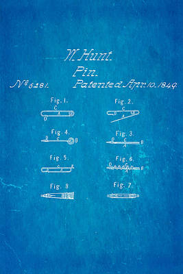 Hunt Safety Pin Patent Art 1849 Blueprint Print by Ian Monk