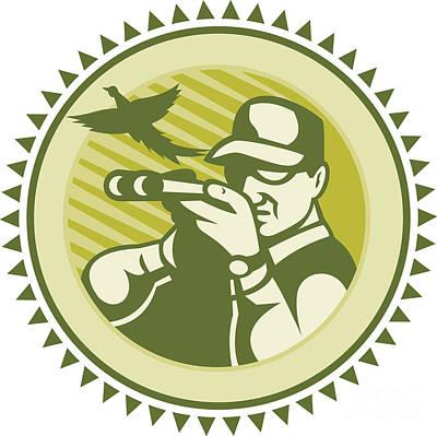 Pheasant Digital Art - Hunter Aiming Shotgun Rifle With Pheasant Bird by Aloysius Patrimonio